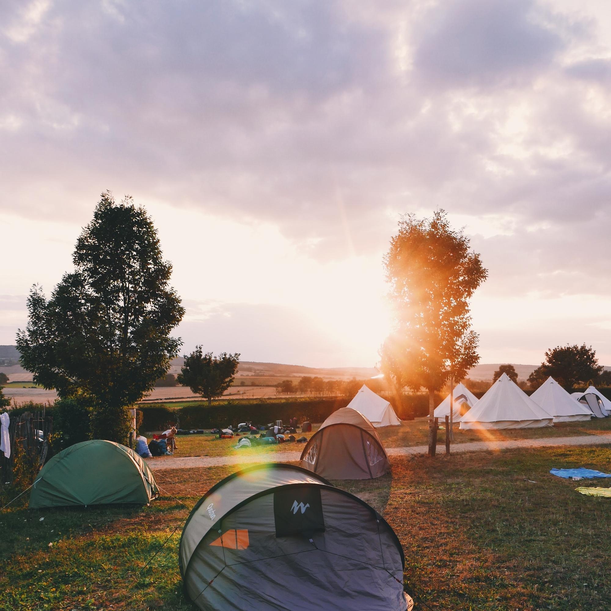 a peaceful campsite at surise